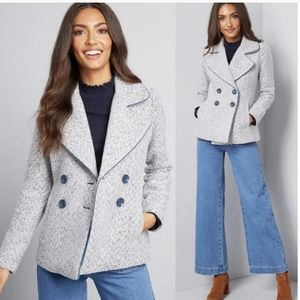 Brand new Modcloth grey herringbone peacoat jacket